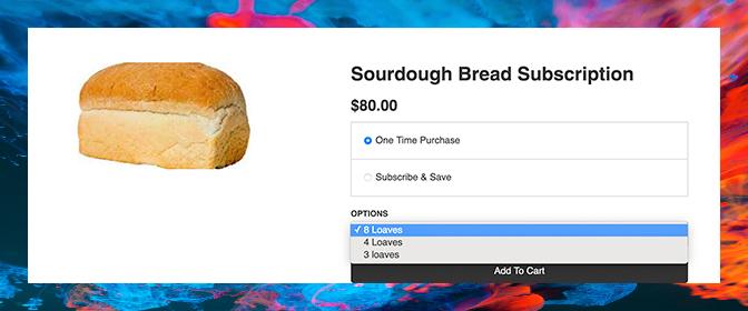 Subscription widget optimized for multiple quantity options